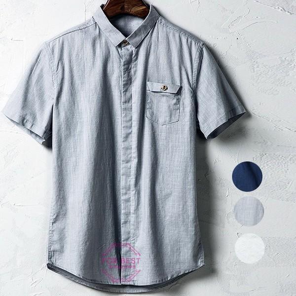 ファッション 白シャツ 半袖シャツ カジュアルシャツ 30代40代50代 男性 夏 コットン サマー