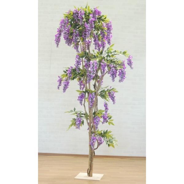 藤の木 210cm (インテリア 造花 観葉植物 フジ パープル 紫 初夏 植栽 装飾 ディスプレイ 2.1m)