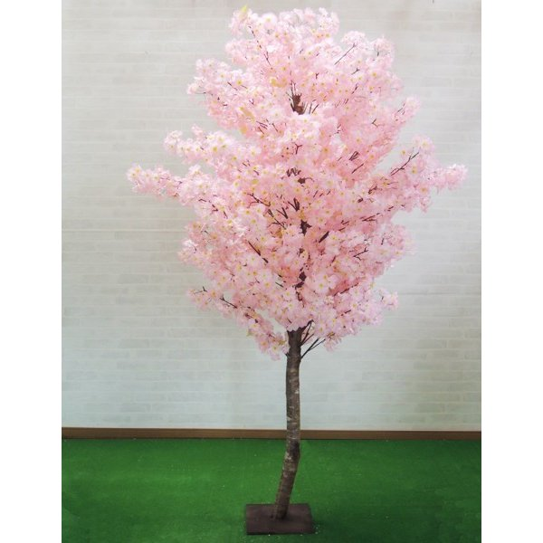 桜 210cm (造花 インテリア 観葉植物 サクラ コンパネ仕様 木板 おしゃれ 室内 フェイク グリーン 大型 植栽 スプリング)
