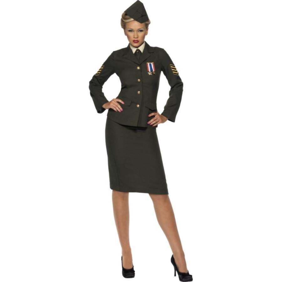 隊長 緑 衣装、コスチューム 兵士 大人女性用 Wartime Offi cer