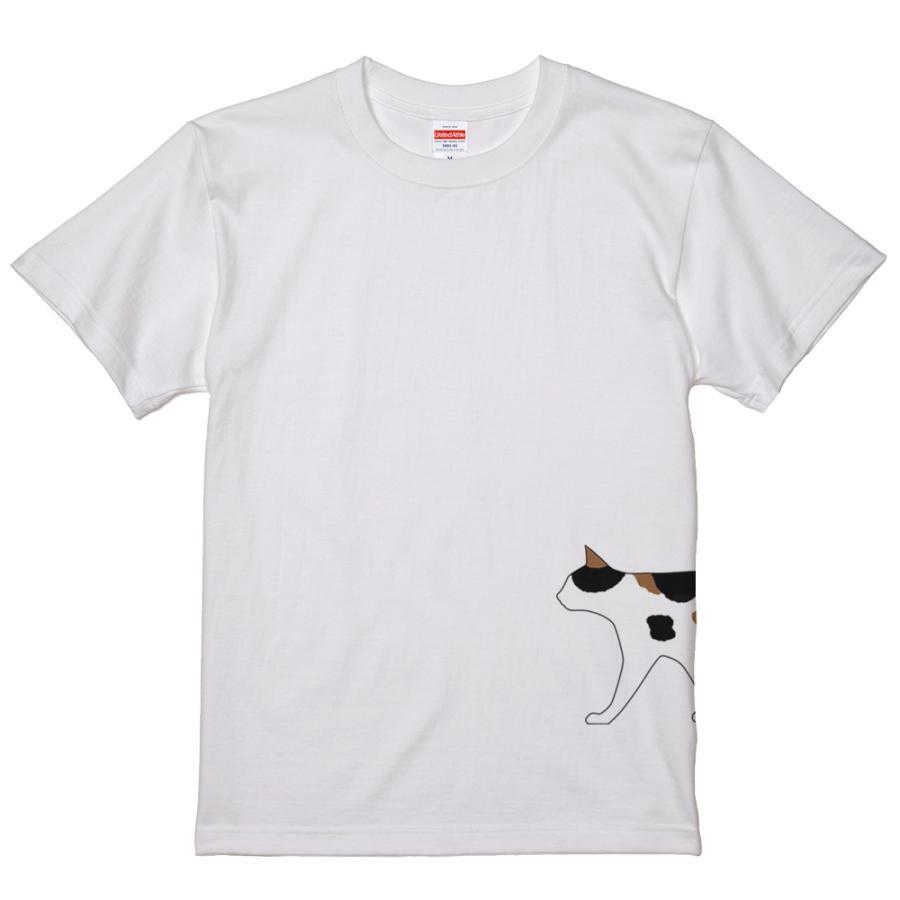 ネコ 猫 サイドプリント Tシャツ ユニセックスサイズ ホワイト 白 全3種|amegare|07
