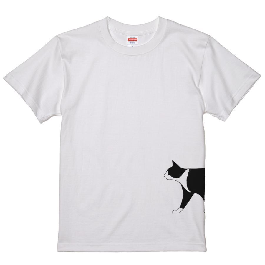 ネコ 猫 サイドプリント Tシャツ ユニセックスサイズ ホワイト 白 全3種|amegare|08