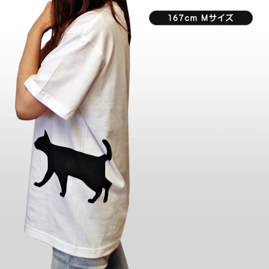 ネコ 猫 サイドプリント Tシャツ ユニセックスサイズ ホワイト 白 全3種|amegare|05