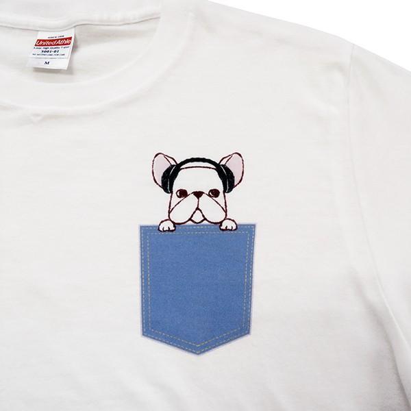 フレンチブルドッグ ポケットデザイン Tシャツ 犬 イヌ ヘッドフォン ユニセックスサイズ ホワイト|amegare|02