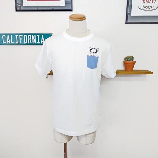 フレンチブルドッグ ポケットデザイン Tシャツ 犬 イヌ ヘッドフォン ユニセックスサイズ ホワイト|amegare|03