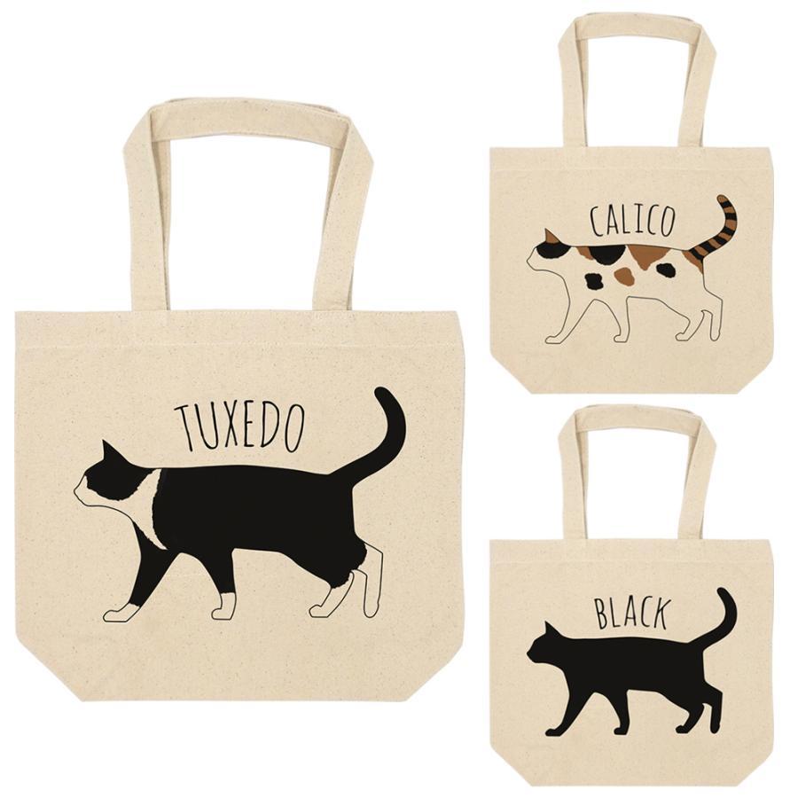 キャンバス トートバッグ アイボリー 猫 ネコ ハチワレ 三毛猫 黒猫 可愛い シンプル A4 全3種|amegare