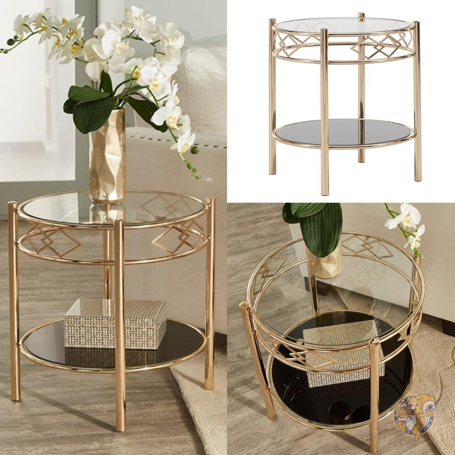 エンドテーブル ガラストップ メタル 下段収納 ゴールド