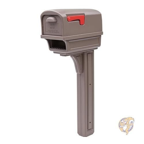 Rubbermaid GC1M0000 Large Deluxe Plastic Mailbox and Post Combo, Mocha Solar 並行輸入品