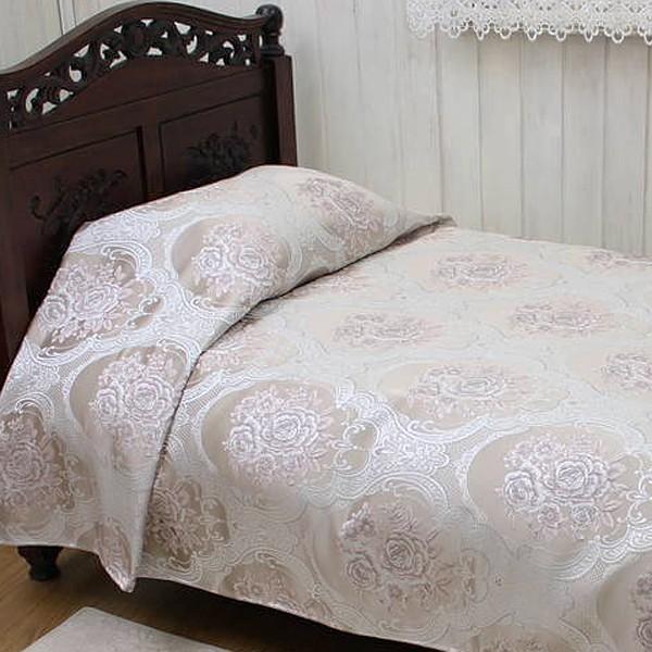ベッドカバー 【送料無料】 ジャカード織 約220×260cm 花柄 ピンク 上品 おしゃれ 寝具カバー 高級感 寝室