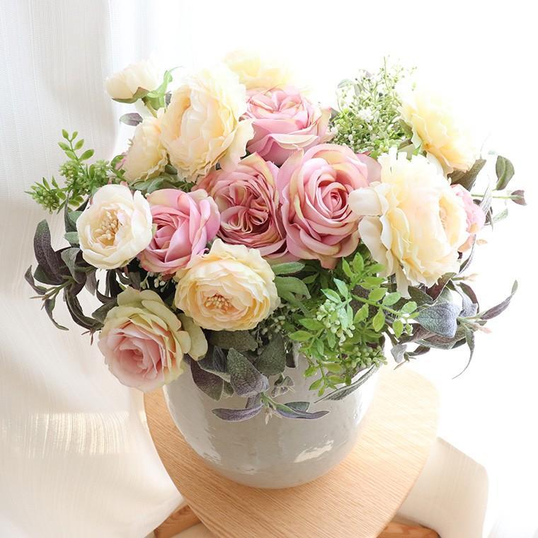 造花 インテリア リアル 高級  おしゃれ アーティフィシャルフラワー アレンジ 開店祝い 移転祝い 開業祝い 就任祝い  花「ラナンキュラス」器なし|ampoule-shop