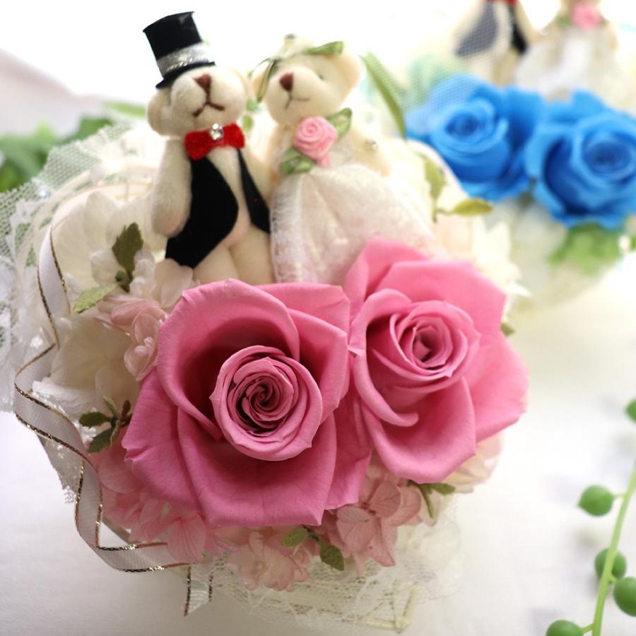 結婚式 電報 祝電 結婚祝い ギフト プレゼント 贈り物 おしゃれ プリザーブドフラワー ギフト お祝い 花 ぬいぐるみ くま ハートのキャンディローズ|ampoule-shop