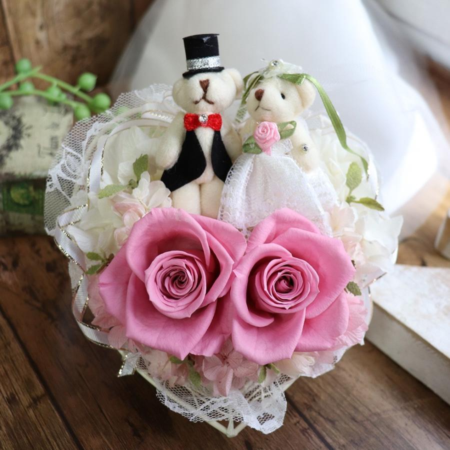結婚式 電報 祝電 結婚祝い ギフト プレゼント 贈り物 おしゃれ プリザーブドフラワー ギフト お祝い 花 ぬいぐるみ くま ハートのキャンディローズ|ampoule-shop|16