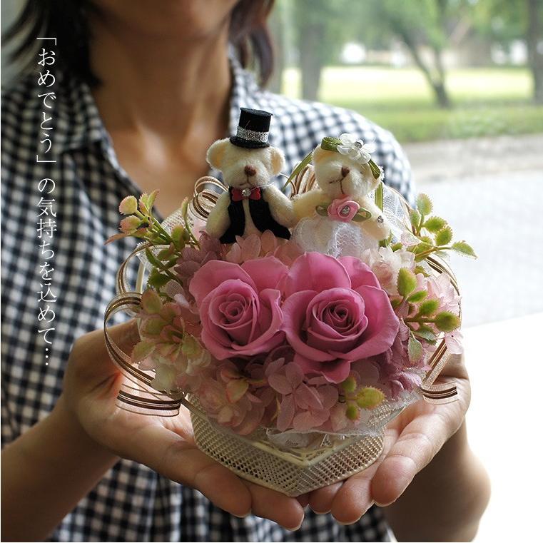 結婚式 電報 祝電 結婚祝い ギフト プレゼント 贈り物 おしゃれ プリザーブドフラワー ギフト お祝い 花 ぬいぐるみ くま ハートのキャンディローズ|ampoule-shop|07