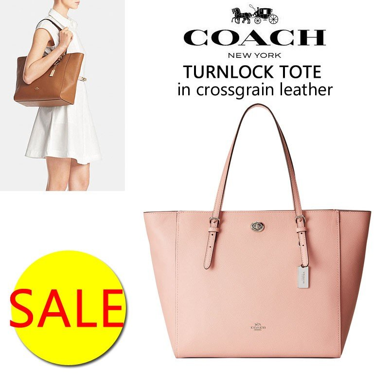 38934b4f18aa COACH コーチ Turnlock Tote レザー トート ターンロック トートバッグ ...