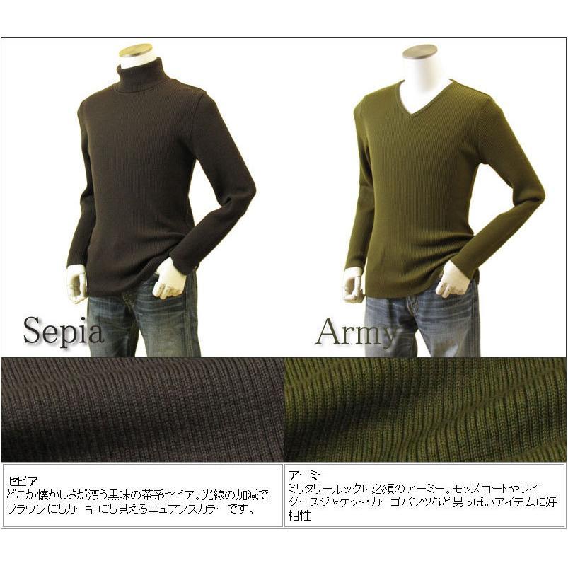 メンズ リブクルーネックニット リブVネックニット リブハイネックニット リブタートルネックニット メリノウール100% 日本製 日本紡績糸 送料無料 トップス|amu|23
