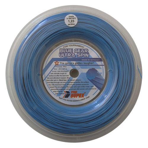 プロスペックス ブルーギア ウルトラスピン(1.23mm) 200mロール 硬式テニス ポリエステルガット(PRO SUPEX BLUE GEAR ULTRA SPIN)(16y12m)