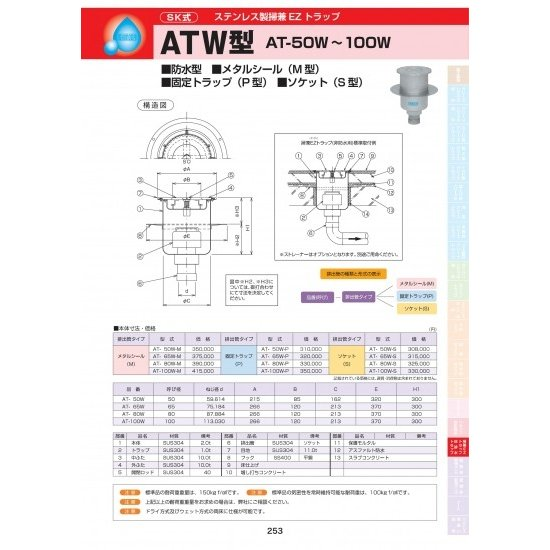 ステンレス製掃兼EZトラップ ATW型 AT-50W-S