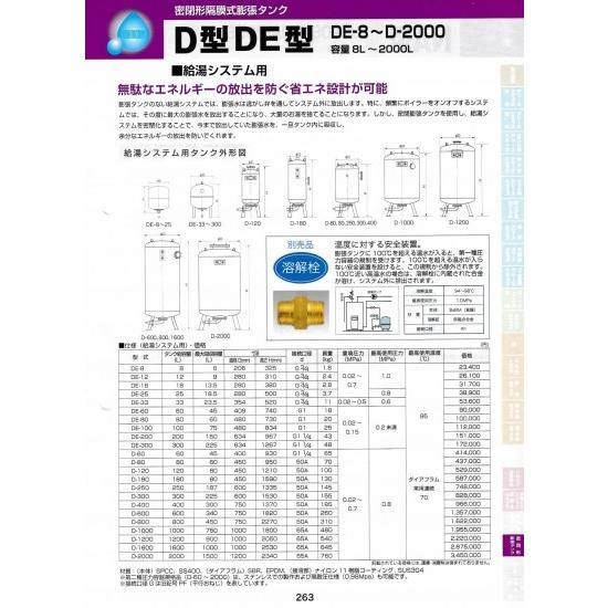 密閉形隔膜式膨張タンク DE型 DE-8