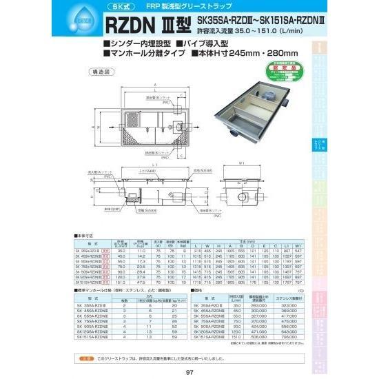 SK式 FRP製 浅型 グリーストラップ RZDN III型(シンダー内埋設・パイプ導入型・マンホール分離タイプ)SK120SA-RZDNIII ステンレス製蓋付