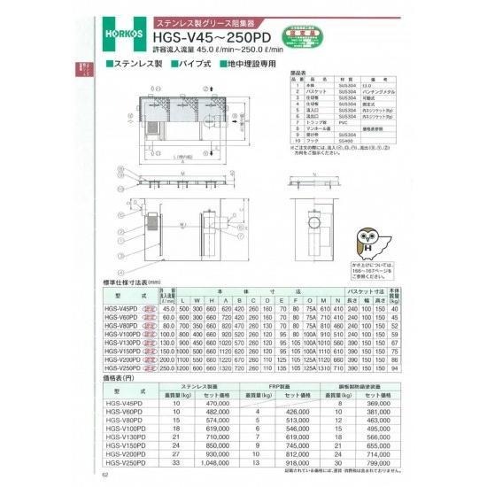 【ホーコス】ステンレス製グリース阻集器 HGS-V150PD 150L ステンレス蓋