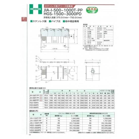 【ホーコス】ステンレス製グリース阻集器 JIA-I-500T-PP 375L ステンレス蓋