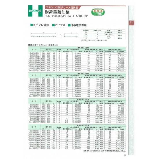 【ホーコス】ステンレス製グリース阻集器 耐荷重蓋仕様 厚み40と60ミリ T-2仕様 HGS-V130PD(40U)  亜鉛メッキ鋼板蓋