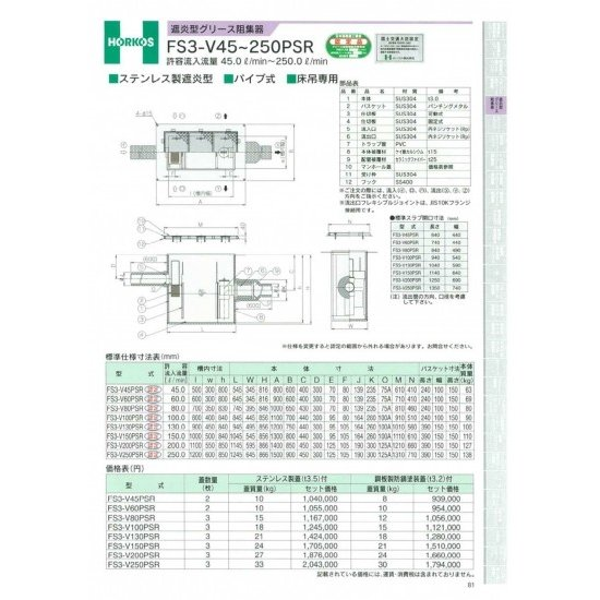 【ホーコス】遮炎型グリース阻集器 FS3-V250PSR 250L 鋼板製防錆蓋