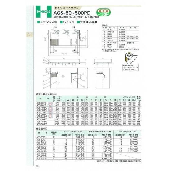 【ホーコス】セイリュートラップ AGS-200PD 154.5L 鋼板製防錆塗装蓋