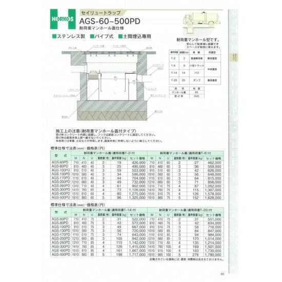 【ホーコス】セイリュートラップ 耐荷重マンホール蓋 AGS-60PD T-14仕様