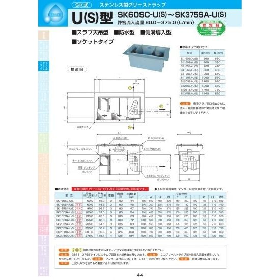 U(S)型 SK105SA-U(S) SS400亜鉛メッキ