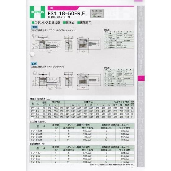 【ホーコス】桝 FS1-25ER ステンレス蓋(t3.5)