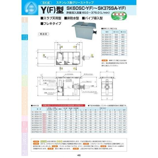 Y(F)型 SK85SA-Y(F) 耐荷重蓋仕様セット(マンホール枠:ステンレス/蓋:SS400) T-6