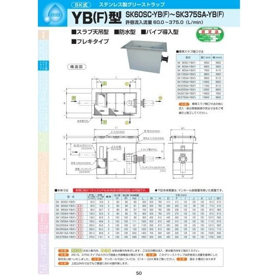 YB(F)型 SK85SA-YB(F) 耐荷重蓋仕様セット(マンホール枠:ステンレス/蓋:ステンレス) T-6