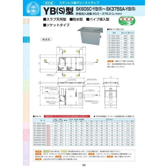 YB(S)型 SK60SA-YB(S) 耐荷重蓋仕様セット(マンホール枠:ステンレス/蓋:SS400) T-14