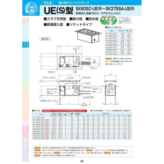 UE(S)型 SK60SA-UE(S) SS400亜鉛メッキ