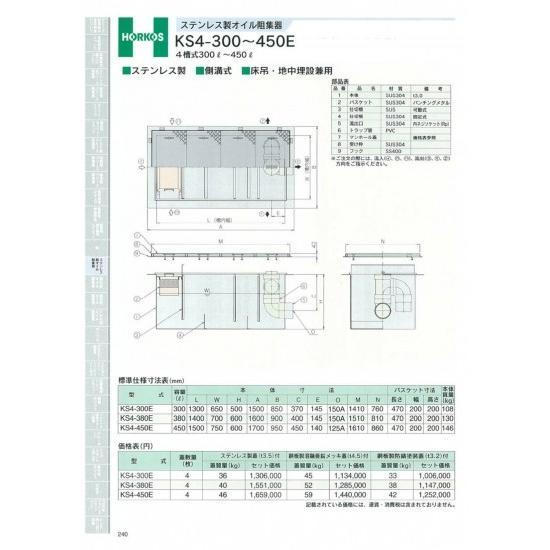 【ホーコス】ステンレス製 オイル阻集器 KS4-380E 鋼板製溶融亜鉛メッキ蓋(t4.5)