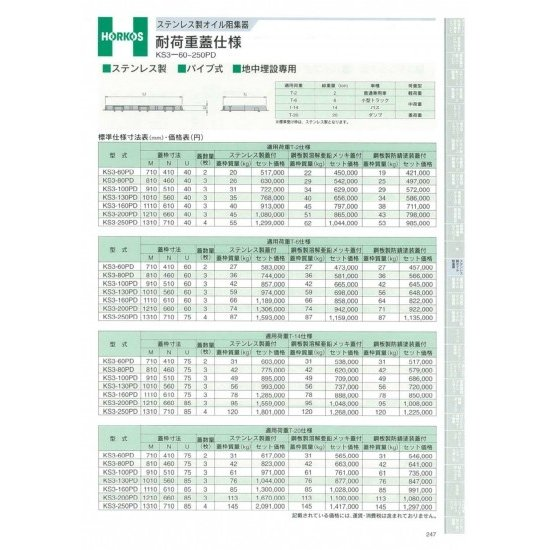 【ホーコス】 ステンレス製オイル阻集器 耐荷重蓋仕様 T-6仕様 KS3-100PD 鋼板製防錆塗装蓋