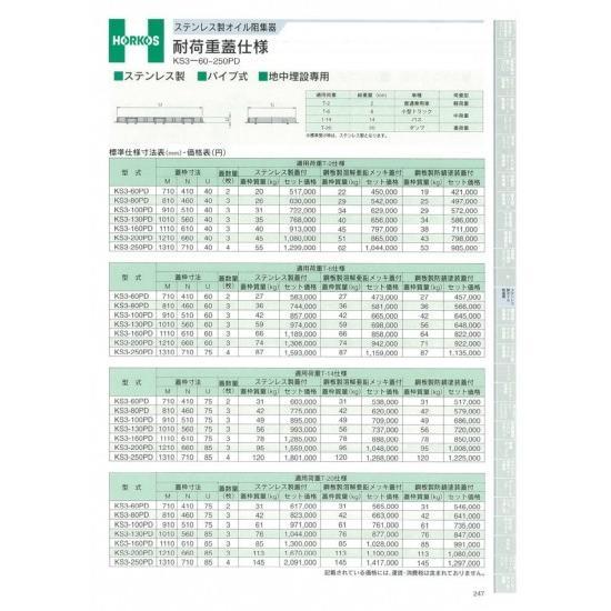 【ホーコス】 ステンレス製オイル阻集器 耐荷重蓋仕様 T-20仕様 KS3-130PD 鋼板製溶融亜鉛メッキ蓋
