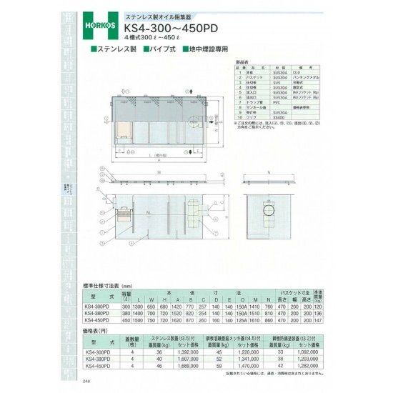 【ホーコス】ステンレス製オイル阻集器 KS4-300PD ステンレス蓋(t3.5)