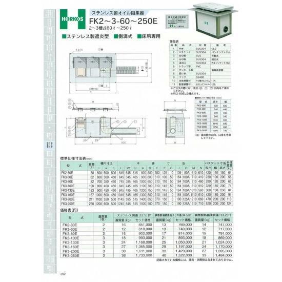 【ホーコス】ステンレス製オイル阻集器 FK3-60E 62L 鋼板製溶融亜鉛メッキ蓋(t4.5)