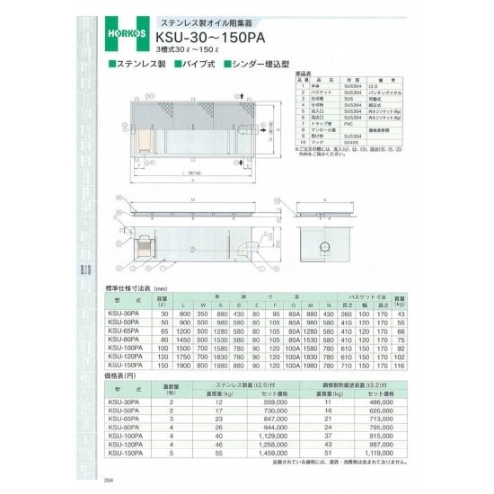 【ホーコス】ステンレス製オイル阻集器 KSU-80PA 80L 鋼板製防錆塗装蓋(t3.2)
