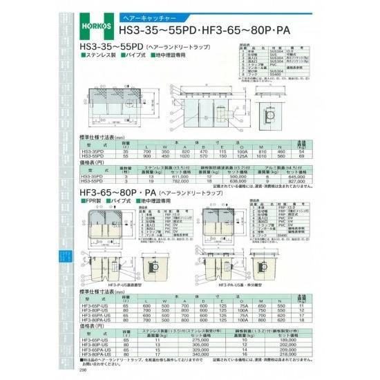 【ホーコス】ヘアーキャッチャー HF3-65Pから80PA HF3-65PA-US ステンレス蓋(t3.5)付(ステンレス受枠)