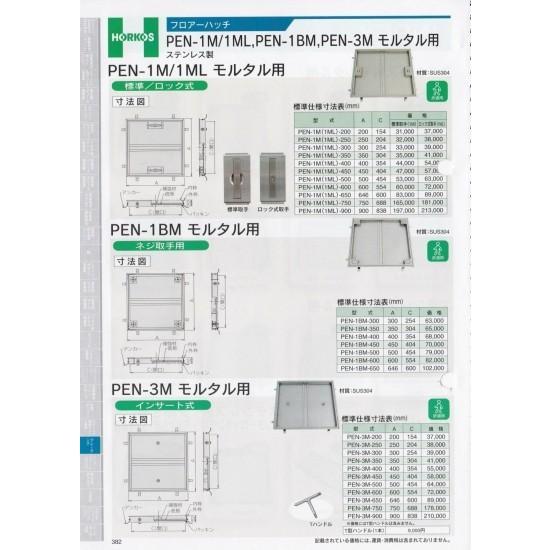 【ホーコス】フロアーハッチ PEN1M/1ML モルタル用 PEN-1M(1ML)-900 ロック式取手(1ML)