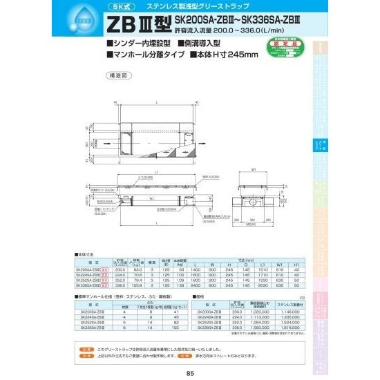 ZBIII型 SK200SA-ZBIII ステンレス製蓋付