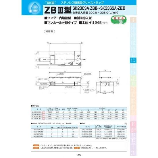 ZBIII型 SK252SA-ZBIII ステンレス製蓋付
