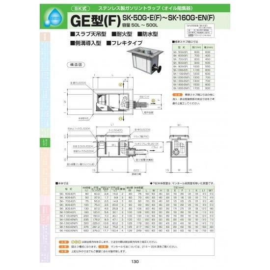 GE型(F) SK-130G-EN(F) 耐荷重蓋仕様セット(マンホール枠:ステンレス / 蓋:SS400) T-6