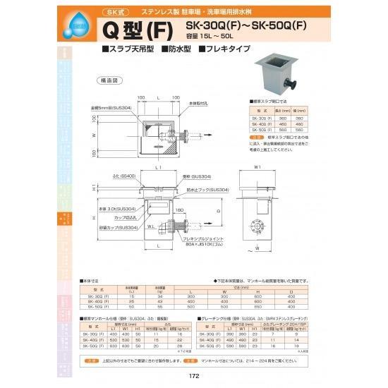 ステンレス製駐車場・洗車場用排水桝 Q型(F) SK-50Q(F) 耐荷重蓋仕様セット(枠:ステンレス / 蓋:SS400溶融亜鉛メッキ) T-20