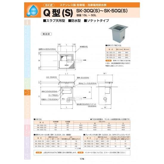 ステンレス製駐車場・洗車場用排水桝 Q型(S) SK-50Q(S) 耐荷重蓋仕様セット(ステンレス製ブレ―チング) T-2