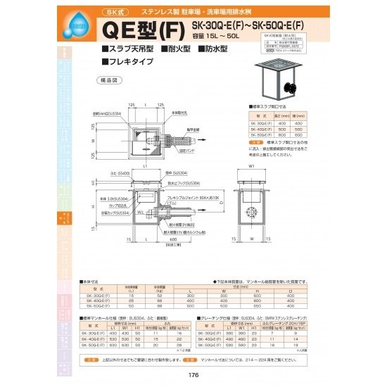 ステンレス製駐車場・洗車場用排水桝 QE型(F) SK-50Q-E(F) 耐荷重蓋仕様セット(枠:ステンレス / 蓋:SS400) T-2