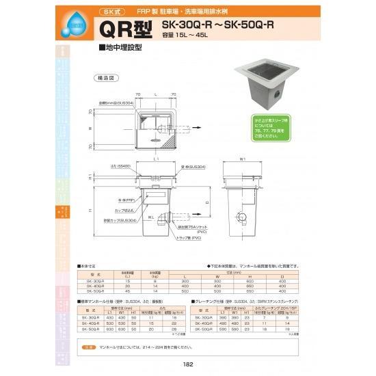 FRP製駐車場・洗車場用排水桝 QR型 SK-30Q-R 耐荷重蓋仕様セット(枠:ステンレス / 蓋:ステンレス ) T-6